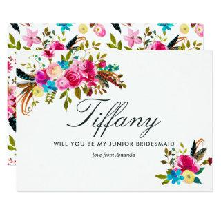 Watercolor Boho Will You Be My Junior Bridesmaid Invitation