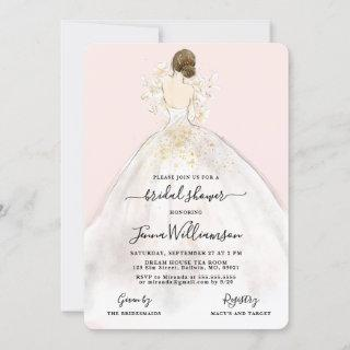 Watercolor Bride in Gown Bridal Shower Invitations
