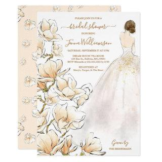 Watercolor Brunette Bride Magnolia Bridal Shower Invitations