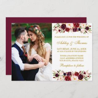 Watercolor Burgundy Floral Gold Photo Wedding Invitation
