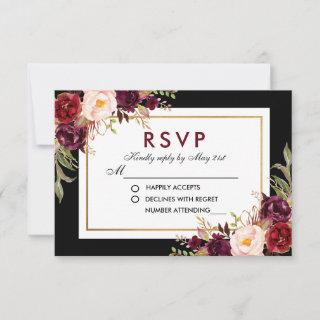 Watercolor Burgundy Floral Gold Wedding Black RSVP