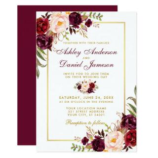 Watercolor Burgundy Floral Gold Wedding Invitations