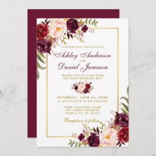 Watercolor Burgundy Floral Gold Wedding