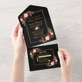 Watercolor Burgundy Floral Wedding Gold All In One
