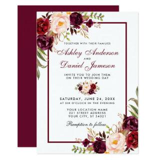 Watercolor Burgundy Floral Wedding Invitation