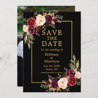 Watercolor Burgundy Roses Black Gold Frame Photo  Save The Date