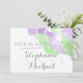 Watercolor Butterfly Lilac Matcha Green Splash Save The Date