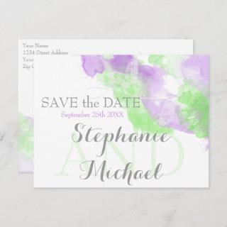 Watercolor Butterfly Matcha Lilac  SavetheDate Announcement Postcard
