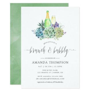 Watercolor Cactus Succulents Brunch and Bubbly Invitations