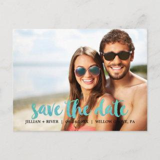 Watercolor Calligraphy Overlay Save the Date Photo Announcement Postcard