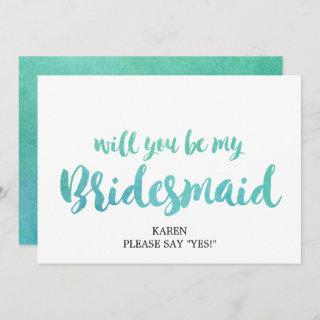 Watercolor Calligraphy Will You Be My Bridesmaid Invitations