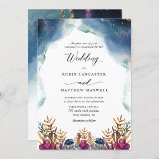 Watercolor Celestial, Mystic Garden Wedding Invitations
