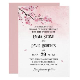 Watercolor Cherry Blossom Pink Floral Wedding Invitations