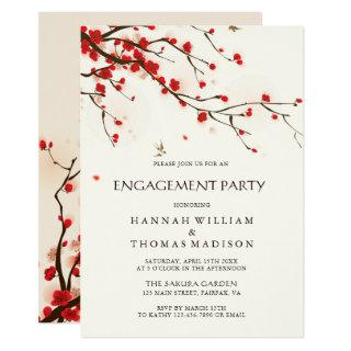 Watercolor Cherry Blossoms Floral Engagement Party Invitations