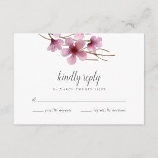 Watercolor Cherry Blossoms Wedding RSVP