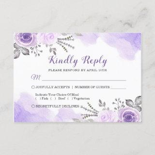 Watercolor Chic Pastel Purple Floral Wedding RSVP