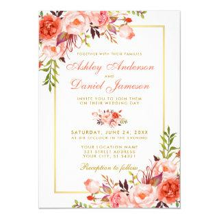 Watercolor Coral Floral and Gold Wedding Invitation