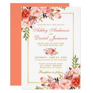 Watercolor Coral Floral Gold Frame Wedding Invitations