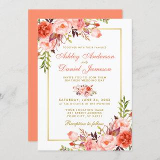 Watercolor Coral Floral Gold Frame Wedding Invitation
