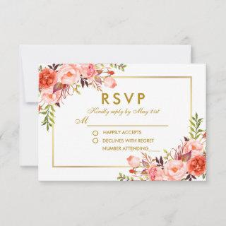Watercolor Coral Floral Gold RSVP Wedding