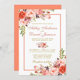 Watercolor Coral Floral Gold Wedding Invitations