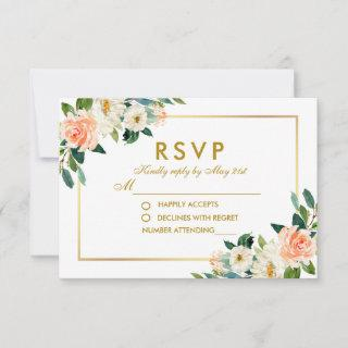Watercolor Coral Floral Gold Wedding RSVP