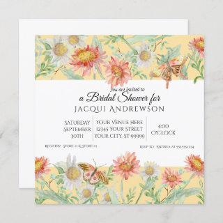 Watercolor Coral Mint Yellow Floral Bridal Shower Invitation