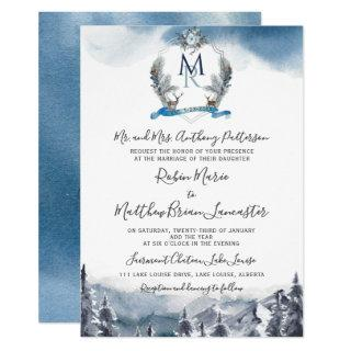 Watercolor Crest and Mountains, Dusty Blue Wedding Invitation
