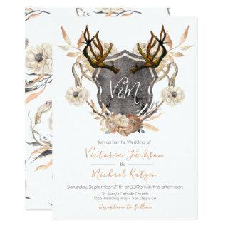 Watercolor Crest floral Antler Wedding invitations
