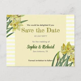 Watercolor Daffodils Flower Portrait Save The Date Announcement Postcard