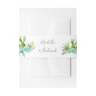 Watercolor Desert Cactus Succulents Wedding Invitations Belly Band