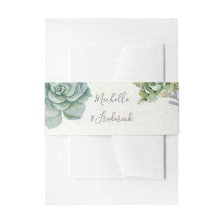 Watercolor Desert Cactus Succulents Wedding Invitation Belly Band