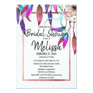 Watercolor Dreamcatcher Rose Gold Bridal Shower Invitations