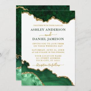 Watercolor Emerald Green Gold Marble Geode Wedding Invitations