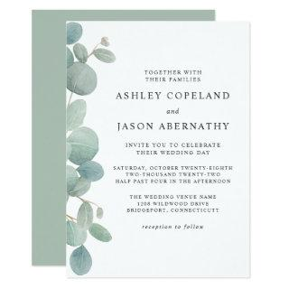 Watercolor Eucalyptus Border Wedding Invitation