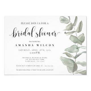 Watercolor Eucalyptus Bridal Shower Invitation