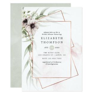 Watercolor Eucalyptus Geometric Bridal Shower Invitation