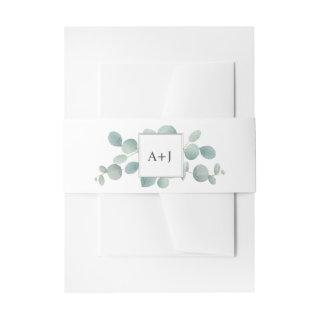 Watercolor Eucalyptus Greenery and Initials Invitation Belly Band
