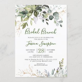 Watercolor Eucalyptus Greenery Bridal  Brunch Invitation
