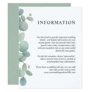 Watercolor Eucalyptus Greenery Wedding Details Invitations