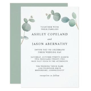 Watercolor Eucalyptus Greenery Wedding Invitation