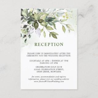 Watercolor Eucalyptus Greenery Wedding Reception Enclosure Card