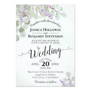 Watercolor Eucalyptus Lavender & Greenery Wedding Invitations
