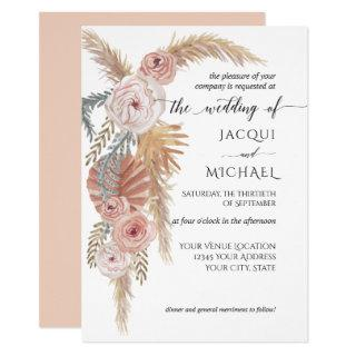 Watercolor Faded Floral BOHO Pampas Grass Foliage Invitation