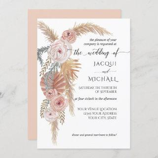 Watercolor Faded Floral BOHO Pampas Grass Foliage Invitations