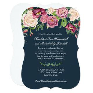 Watercolor Fall Winter Navy Burgundy Floral Rose Invitations
