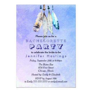 Watercolor Feathers on Bluish Purple Bachelorette Invitations