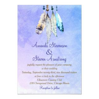 Watercolor Feathers on Bluish Purple Wedding Invitation