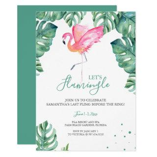 Watercolor Flamingo Bachelorette Party Invitations