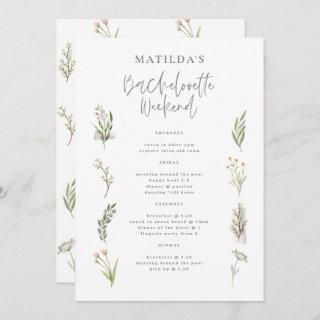 Watercolor floral bachelorette weekend itinerary